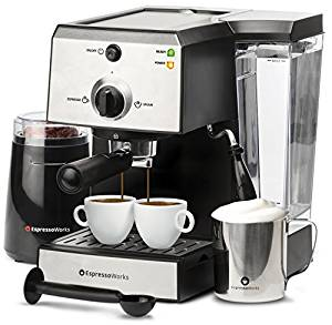 Espresso Works All-In-One Espresso & Cappuccino Maker Machine Barista Bundle Set