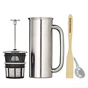 Espro Press P7, Stainless Steel French Press, Double Wall, Vacuum Insulated Coffee Scoop