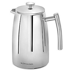 French Press Coffee Maker by Blümwares, Double Wall Stainless Steel Coffee & Tea Makers