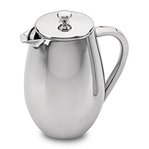 Grunwerg Cafe Ole Double Wall Insulated 8 Cup/35oz Stainless Steel French Coffee Press