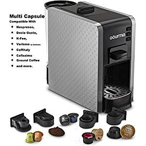 Gourmia GCM7000S Coffee Machine Includes Pod Cartridges for Nespresso, Docle Gusto, K-Fee