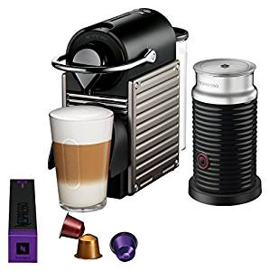 Nespresso Pixie Original Espresso Machine with Aeroccino Milk Frother Bundle by Breville, Titan