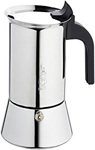 Bialetti Venus – Stove Top Espresso Maker – Stainless Steel with Black Insulated Handle – 6 Cups