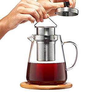 Glass Teapot with Infuser - Loose Leaf Tea Pot 32oz - Stovetop Safe Clear Tea Maker