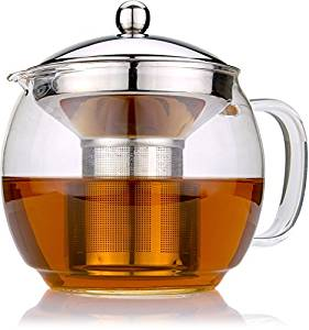 Glass Teapot with Infuser for Blooming and Loose-Leaf Tea Pot by Cozyna | Holds 3-4 Cups | Includes Recipe Book
