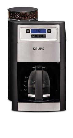 KRUPS Coffee Maker, Grind, and Brew, Automatic Coffee Maker with Burr Grinder, 10-Cups, Black, Model KM785D50