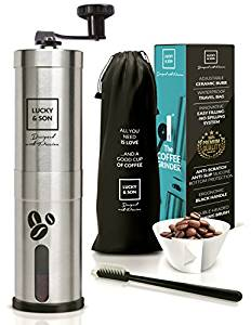 Lucky & Son Manual Coffee Grinder - Top Rated Hand Crank Conical Coffee Bean Grinder