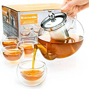 Stovetop Safe Tea Kettle, holds 4-6 Cups, Glass Teapot