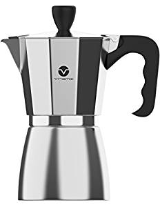 Vremi Stovetop Espresso Maker – Moka Pot Coffee Maker for Gas or Electric Stove Top – 6 Cups Demitasse Espresso Shot Maker for Italian Espresso Cappuccino or Latte – Silver