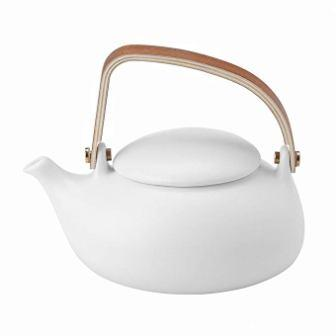 ZENS | White Ceramic Teapot | Smooth Matte Finish | Nature Bentwood Handle