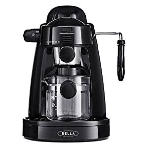 BELLA 13683 Personal Espresso Maker with Built-in Steam Wand and 5 Bar Pressure, Black
