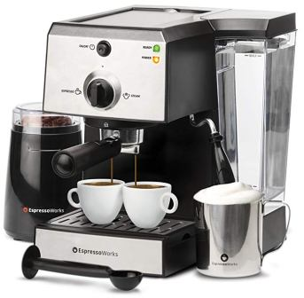 7 Pc All-In-One Espresso Machine & Cappuccino Maker Barista Bundle Set w/ Built-In Steamer & Frother