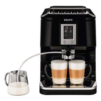 KRUPS EA8808 2-IN-1 Touch Cappuccino Super Automatic Espresso Machine, 57-Ounce, Black