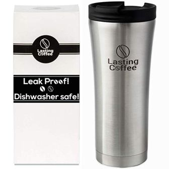Lasting Coffee Travel Mug, 16 oz (Silver)