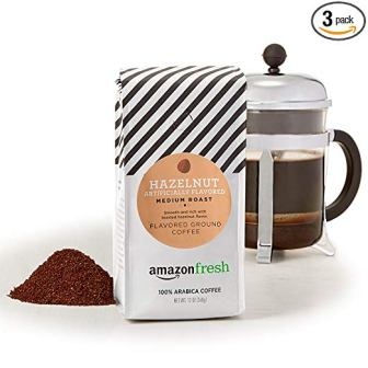 AmazonFresh Hazelnut Flavored Coffee, Ground, Medium Roast, 12 Ounce (Pack of 3)