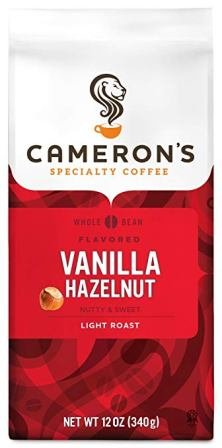 Cameron's Coffee Roasted Whole Bean Coffee, Flavored, Vanilla Hazelnut, 12 Ounce