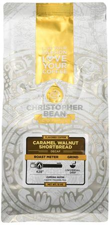 Christopher Bean Coffee Flavored Caramel Walnut Shortbread Decaffeinated Ground coffee