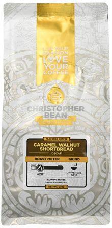 Christopher Bean Coffee Flavored Caramel Walnut Shortbread Decaffeinated Ground coffee