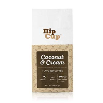 HipCup Coconut Cream Flavored Coffee, Ground, 10 oz.