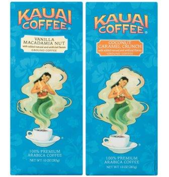 Kauai Coffee Variety Pack – Vanilla Macadamia Nut and Coconut Caramel Crunch, Ground Coffee