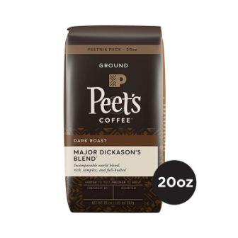 Peet's Coffee Major Dickason's Blend Dark Roast Ground Coffee, 20 Ounce Bag Peetnik Value Pack