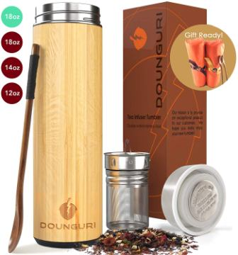 DOUNGURI Bamboo Tea Tumbler Mug with Strainer Infuser