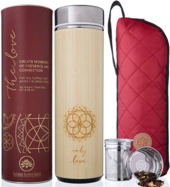 The Love Bamboo Tea Tumbler Thermos with Strainer and Infuser